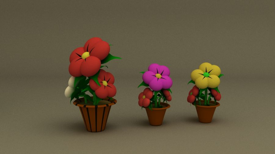 toon flower and flowerpot royalty-free 3d model - Preview no. 5