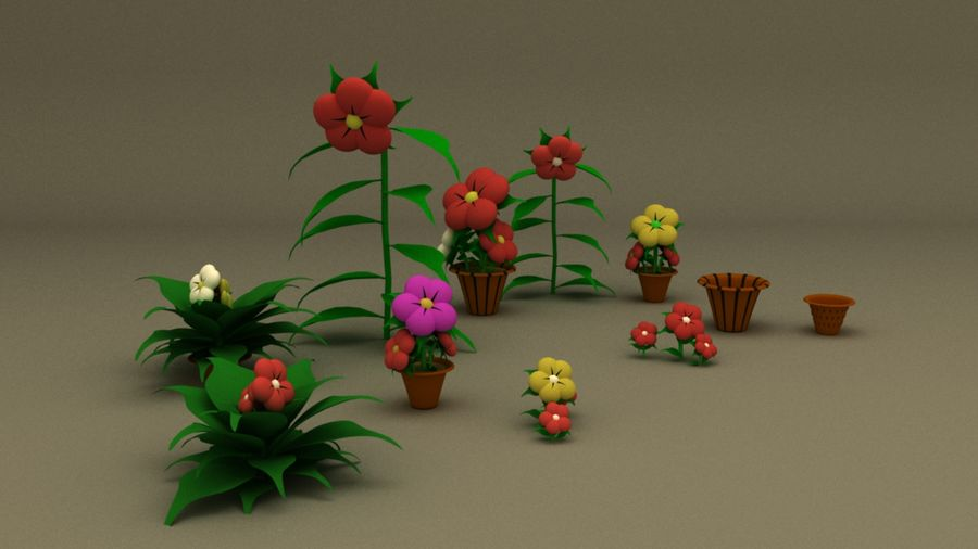 toon flower and flowerpot royalty-free 3d model - Preview no. 2