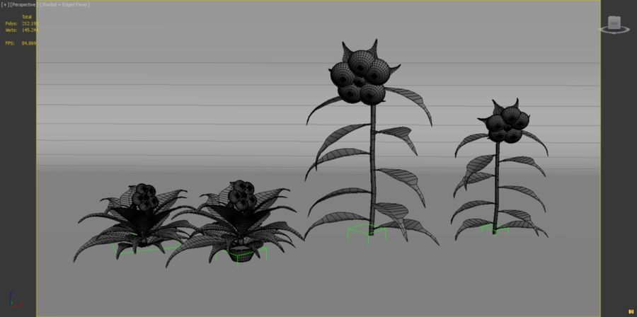 toon flower and flowerpot royalty-free 3d model - Preview no. 9