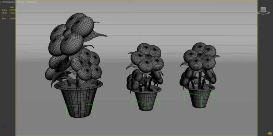 toon flower and flowerpot royalty-free 3d model - Preview no. 8