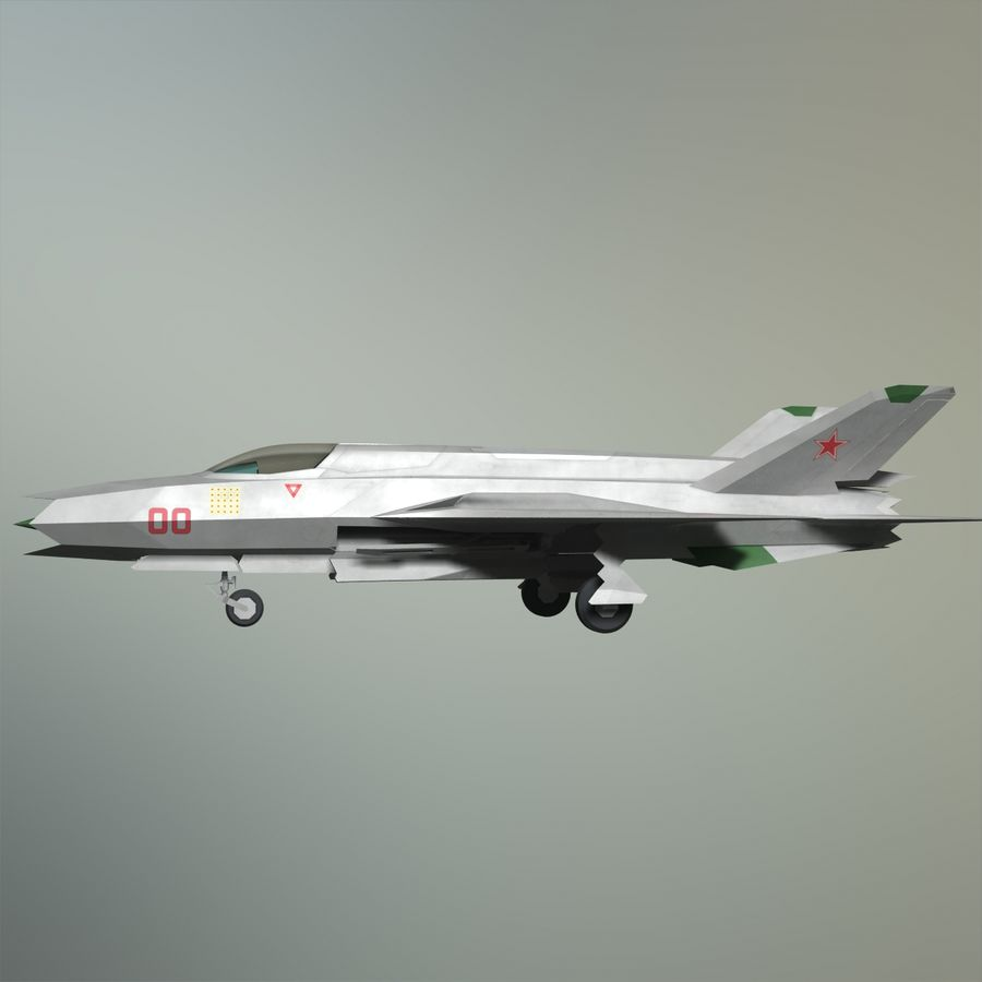 MIG-21Z-F Stealth-jager royalty-free 3d model - Preview no. 19