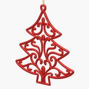Дерево Орнамент Красный 3d model