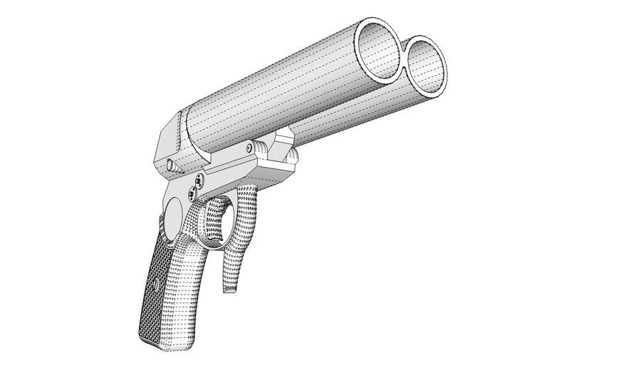 Pistolet royalty-free 3d model - Preview no. 14