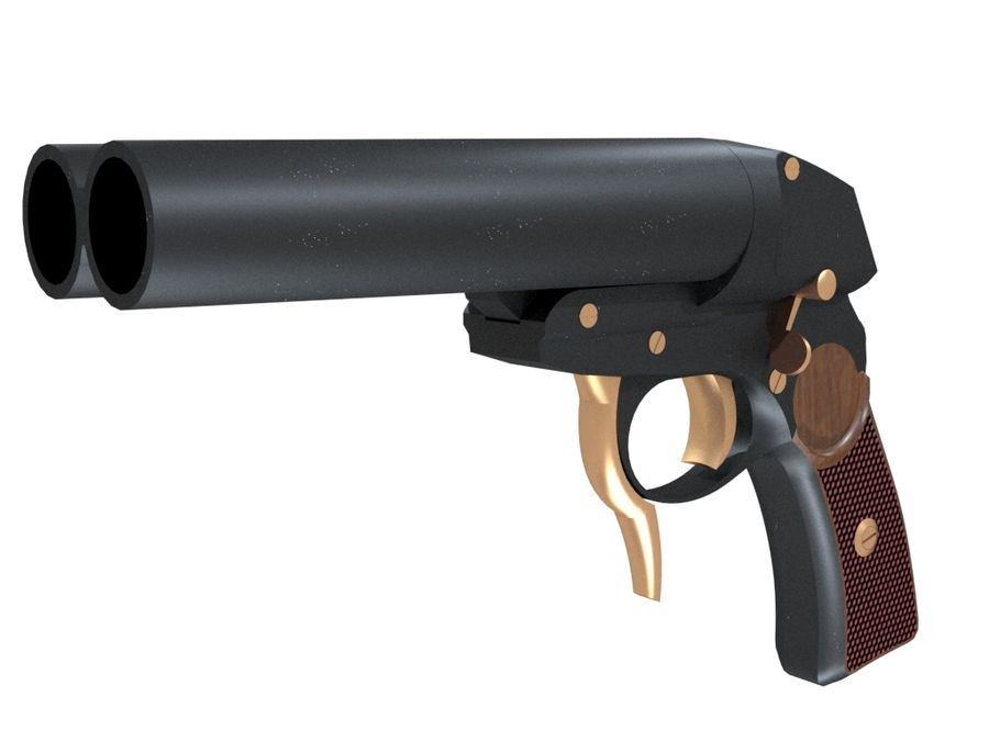 Pistolet royalty-free 3d model - Preview no. 4