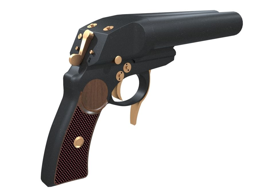 Pistolet royalty-free 3d model - Preview no. 8