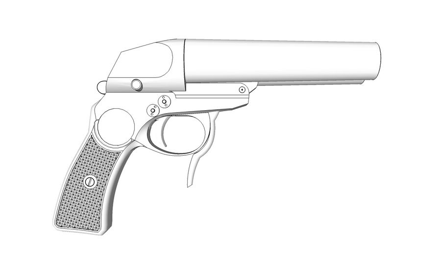 Pistolet royalty-free 3d model - Preview no. 12