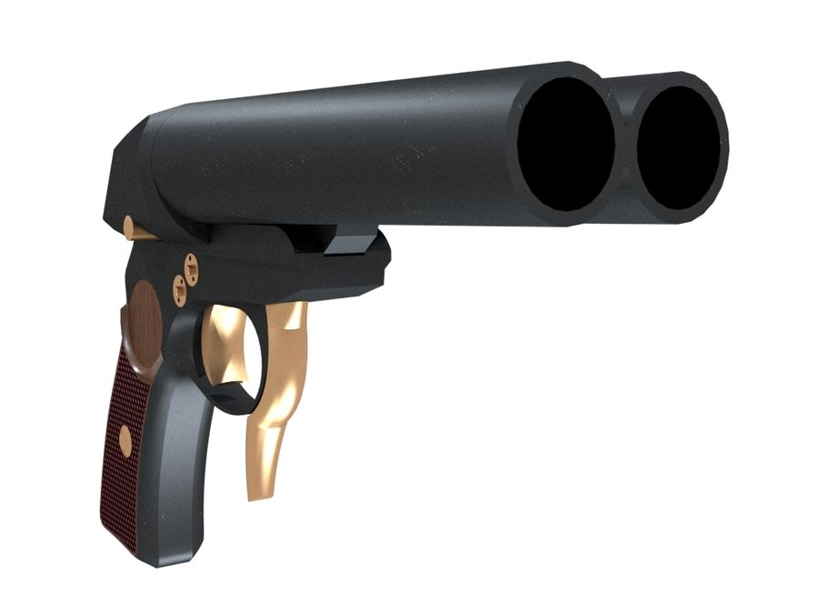 Pistolet royalty-free 3d model - Preview no. 2