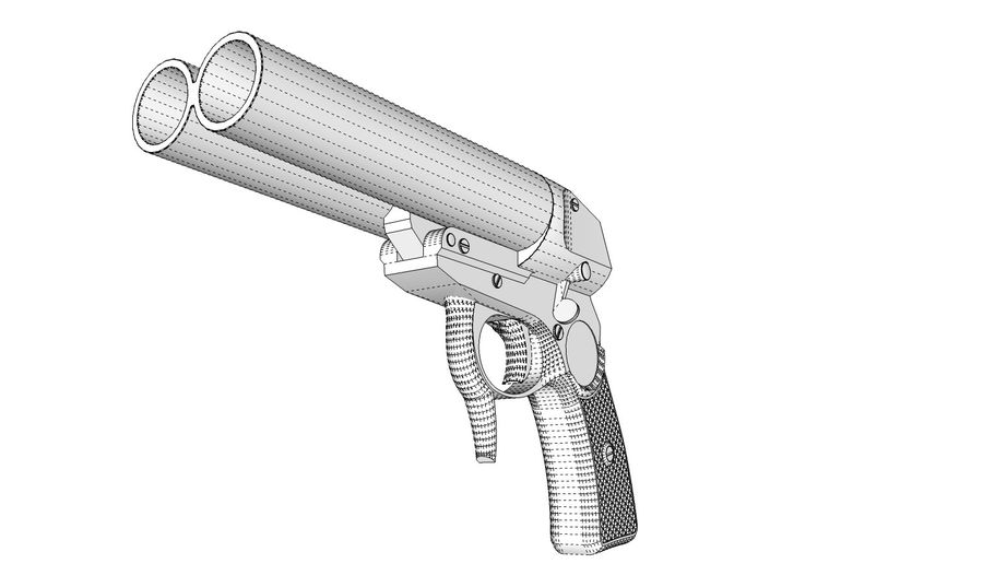 Pistolet royalty-free 3d model - Preview no. 15