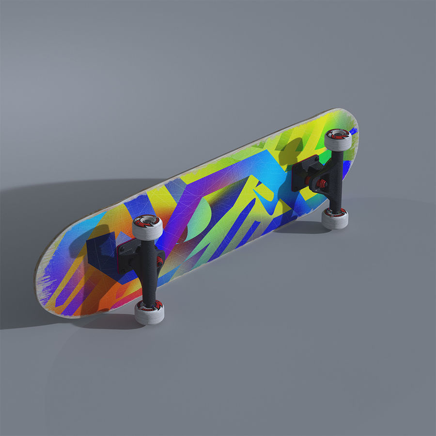 Skateboard with custom deck design royalty-free 3d model - Preview no. 1