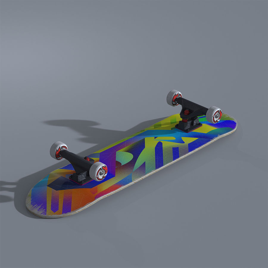 Skateboard with custom deck design royalty-free 3d model - Preview no. 2