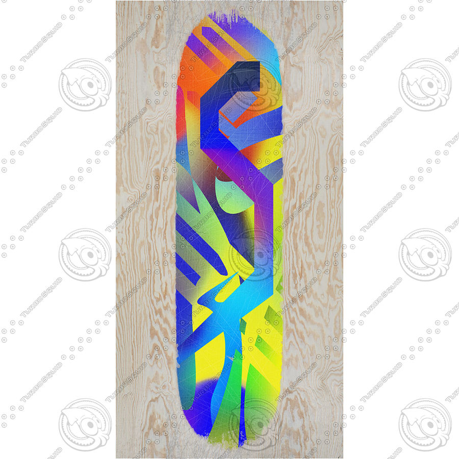 Skateboard with custom deck design royalty-free 3d model - Preview no. 9