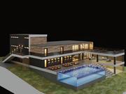 Villa med akvarium pool 3d model