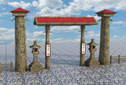 Asian Entrance Fence 3d model