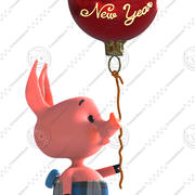 Happy New Year Pig 3d model