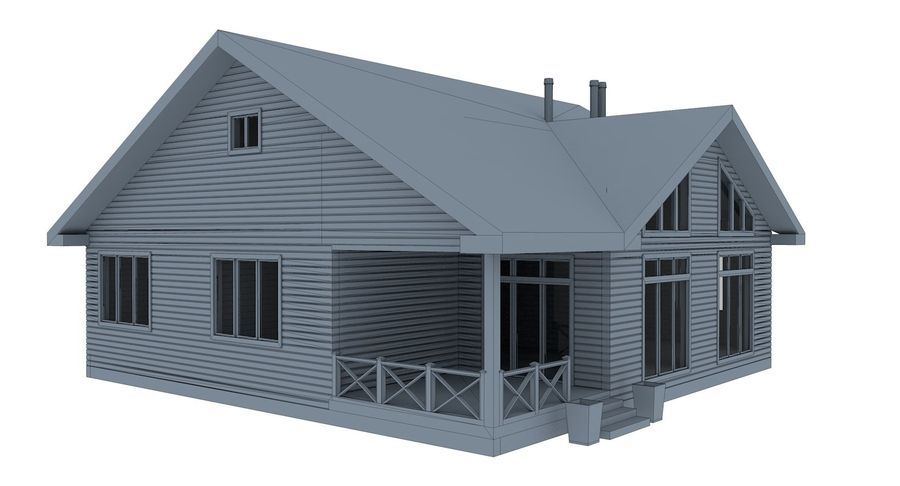 Drewniany dom z bali royalty-free 3d model - Preview no. 11