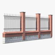 Vecchio muro di mattoni e recinzione in ferro 3d model