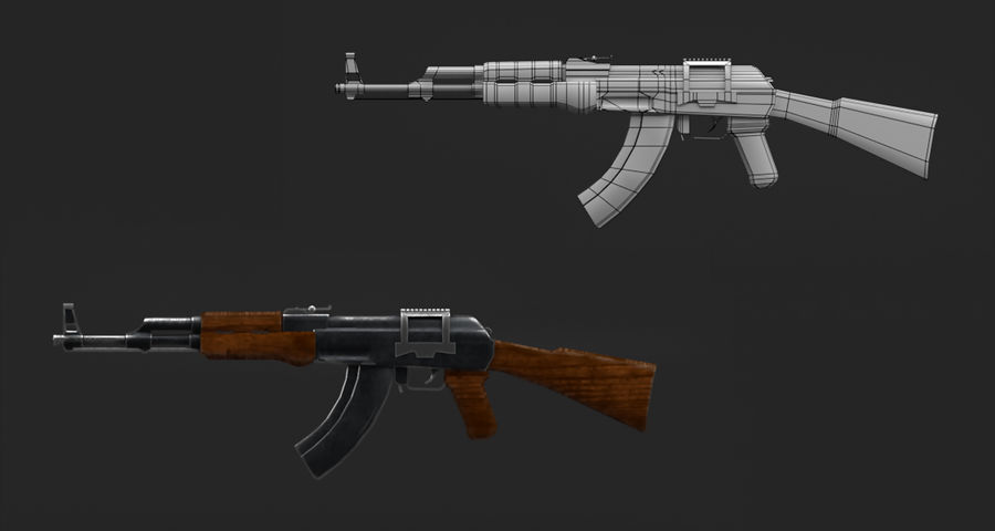 AK47 Gun royalty-free 3d model - Preview no. 6
