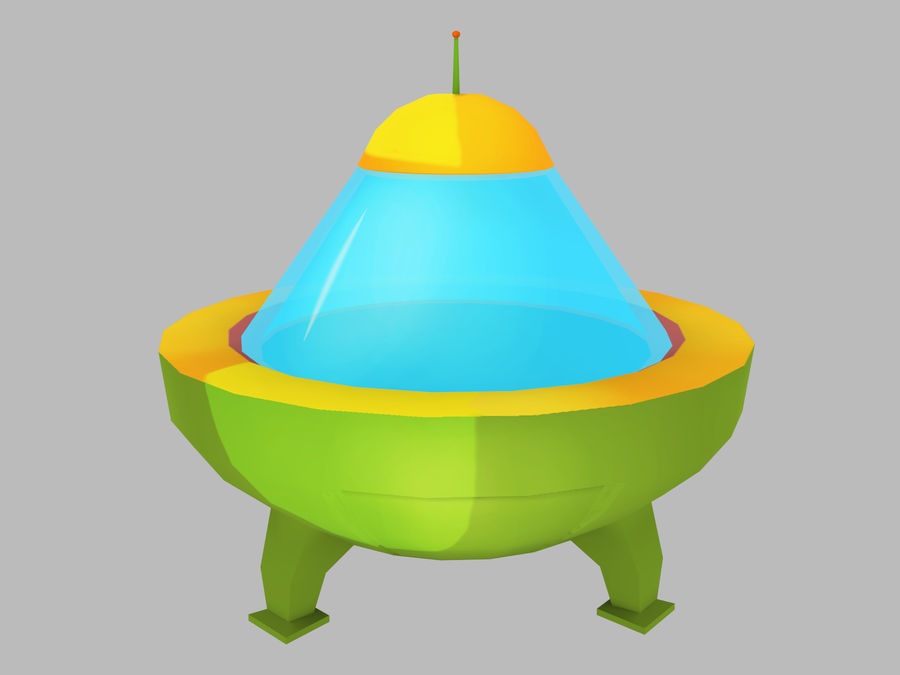 Cartoon Flying Saucer royalty-free 3d model - Preview no. 1