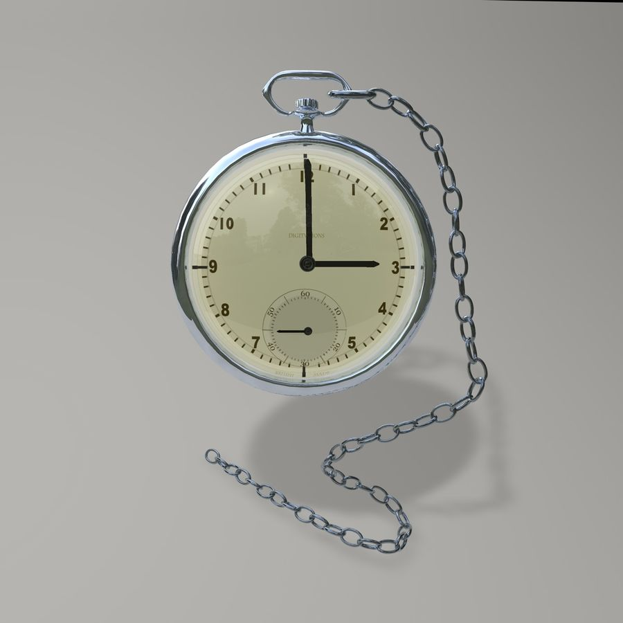 Pocket Watch royalty-free 3d model - Preview no. 3