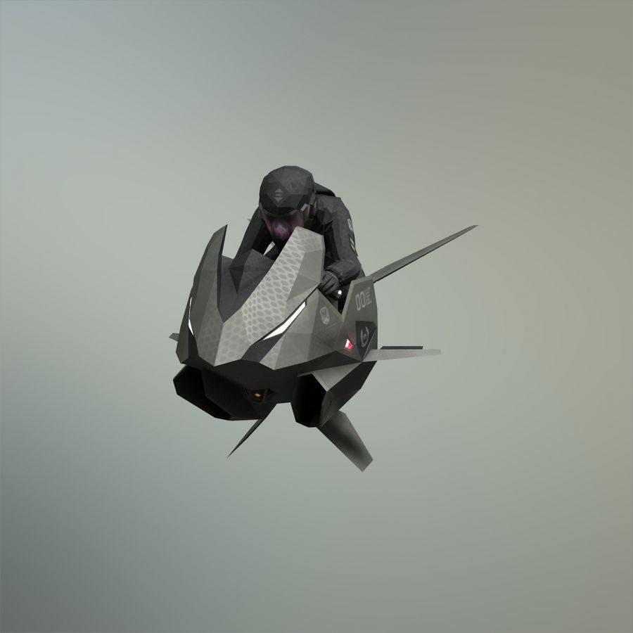V-1 Jet Bike royalty-free 3d model - Preview no. 8