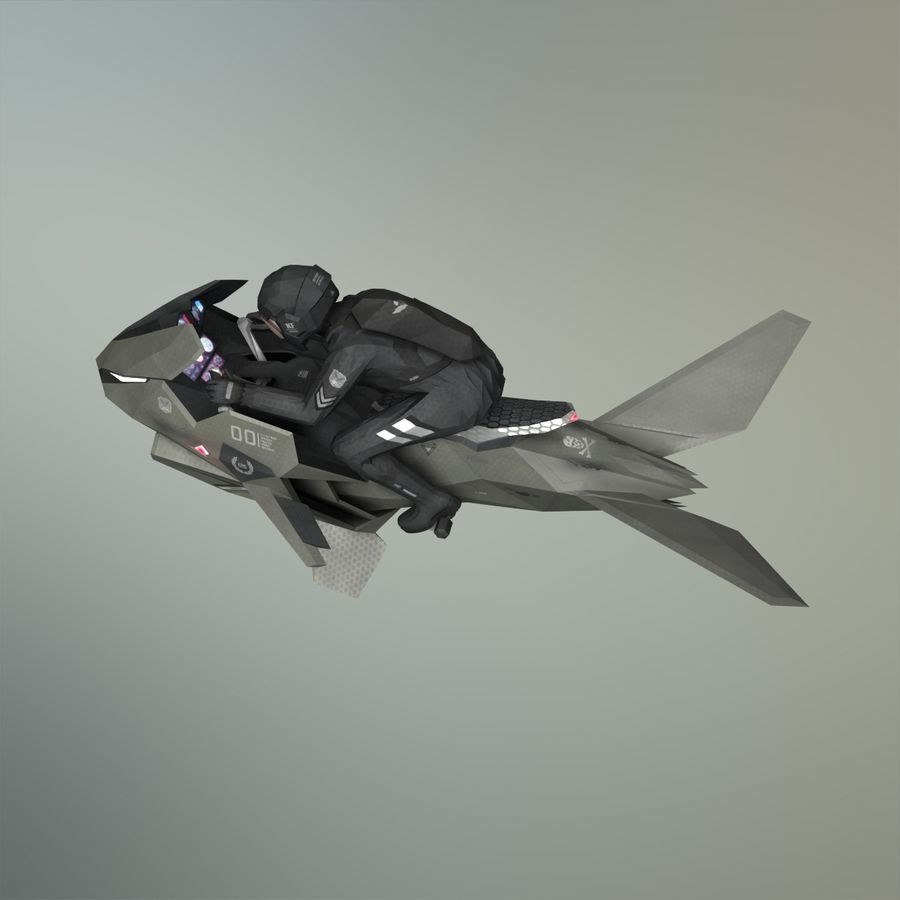 V-1 Jet Bike royalty-free 3d model - Preview no. 3