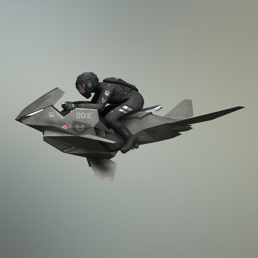 V-1 Jet Bike royalty-free 3d model - Preview no. 2
