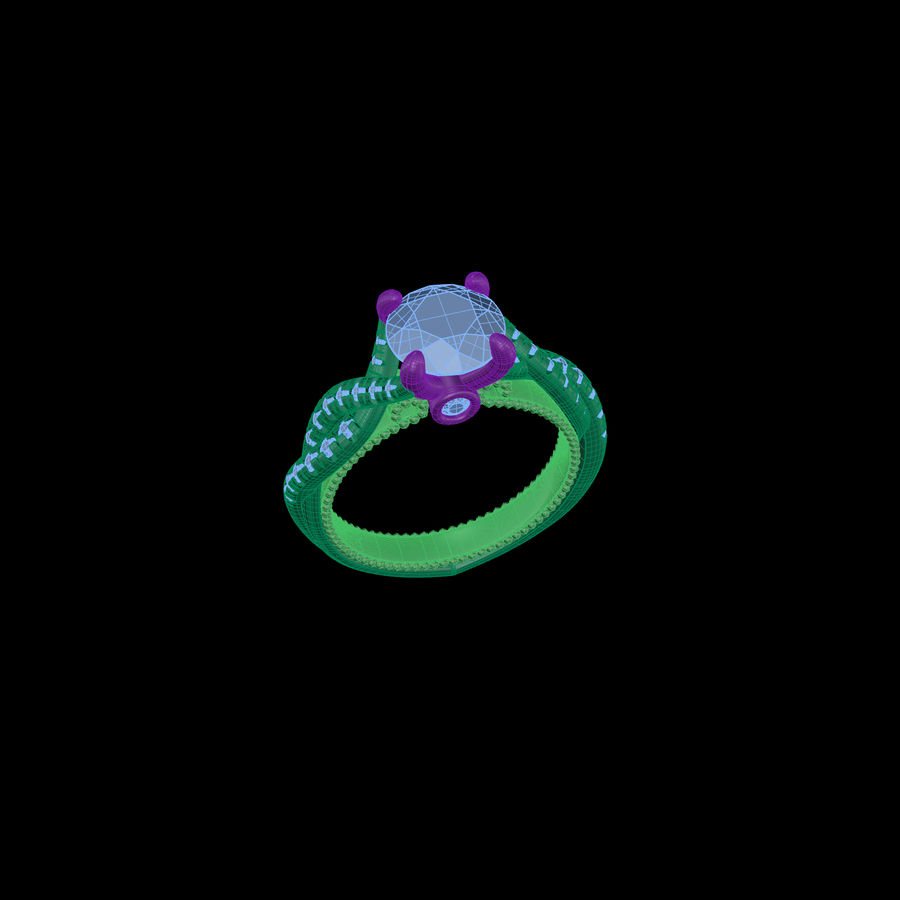 Büküm nişan yüzüğü 002 royalty-free 3d model - Preview no. 8