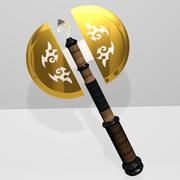 Golden Battle Axe 3d model