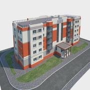 Bostadshus och landskap 3d model