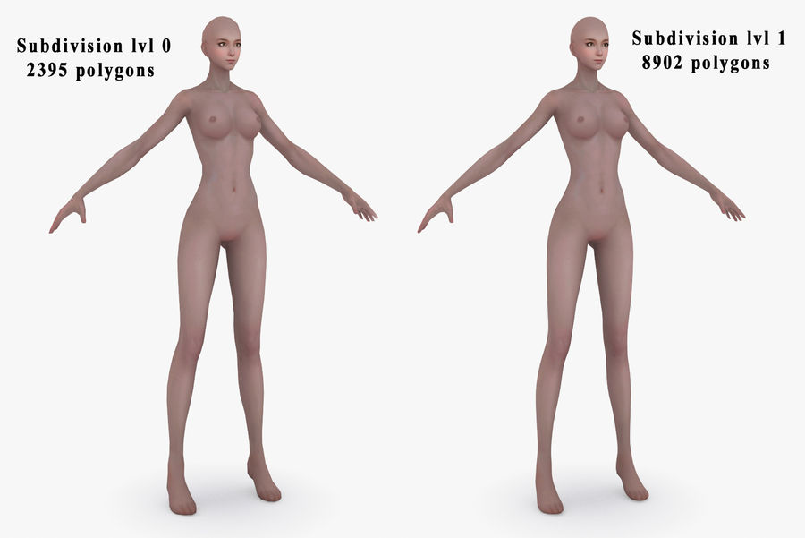 Three Types Of Characters royalty-free 3d model - Preview no. 5