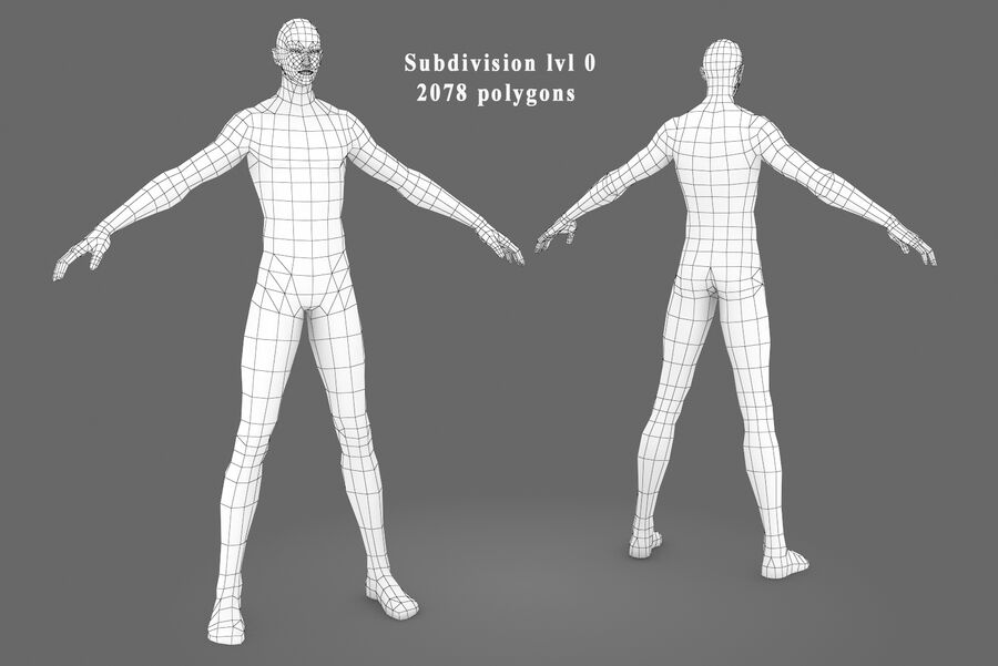 Three Types Of Characters royalty-free 3d model - Preview no. 13