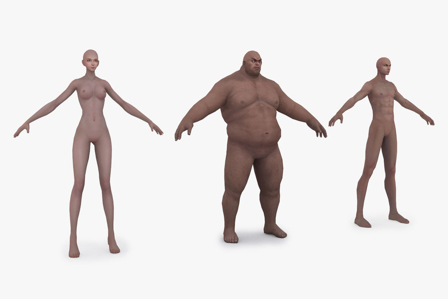 Three Types Of Characters royalty-free 3d model - Preview no. 2