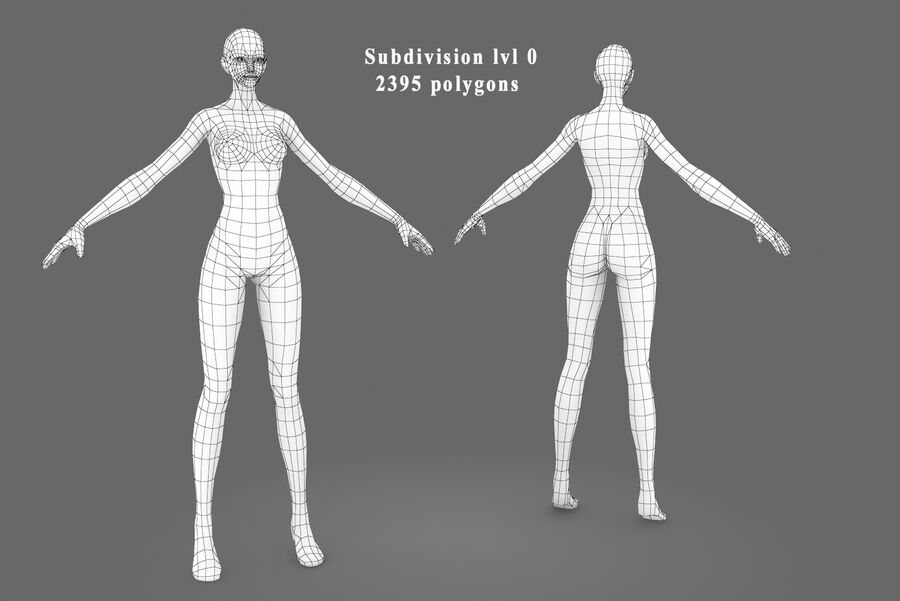 Three Types Of Characters royalty-free 3d model - Preview no. 7