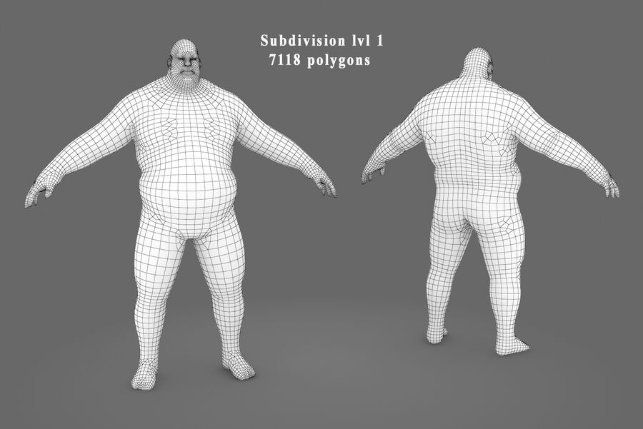 Three Types Of Characters royalty-free 3d model - Preview no. 11