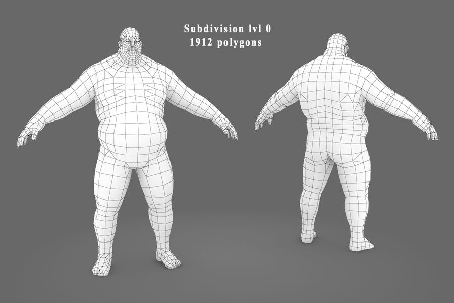 Three Types Of Characters royalty-free 3d model - Preview no. 10