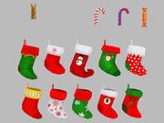Coleção de meias de Natal 3d model