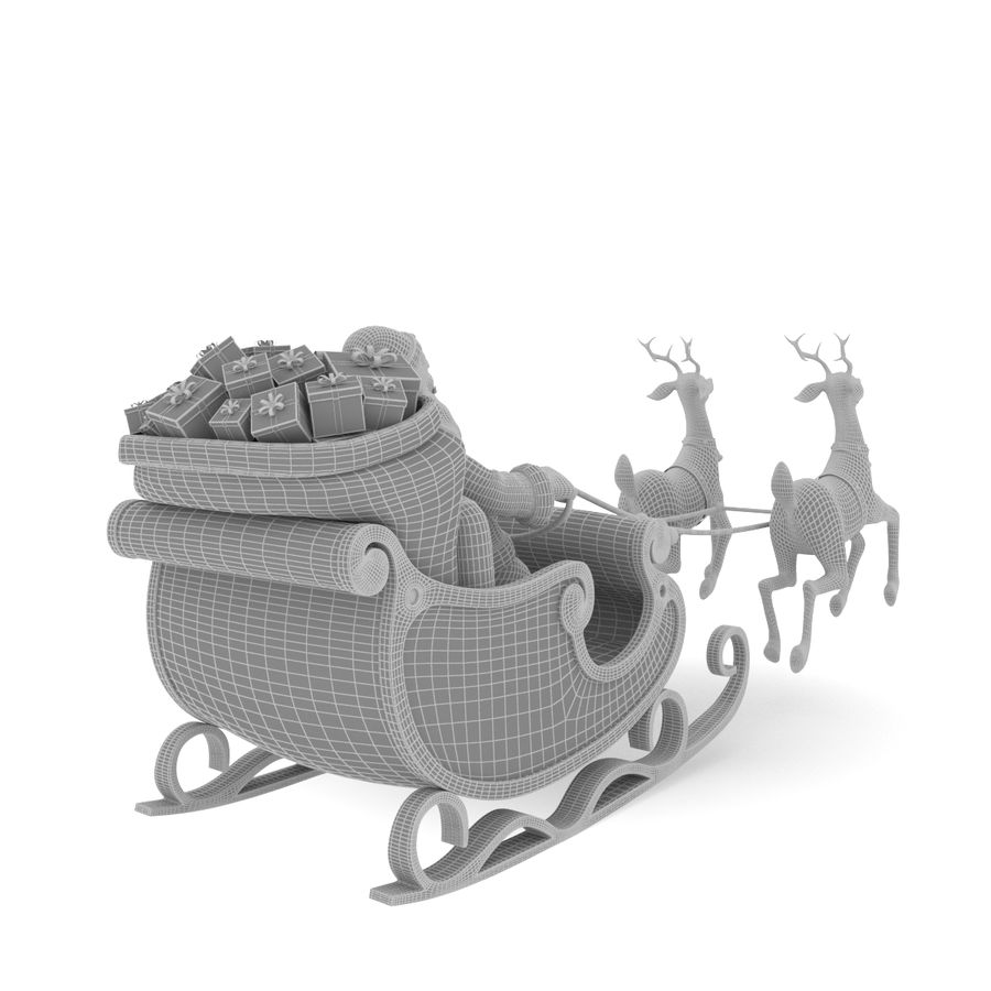 Santa with sleigh royalty-free 3d model - Preview no. 7