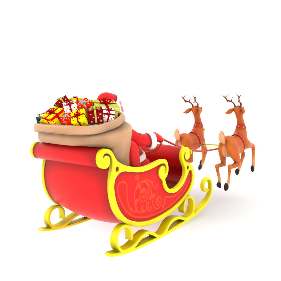 Santa with sleigh royalty-free 3d model - Preview no. 3