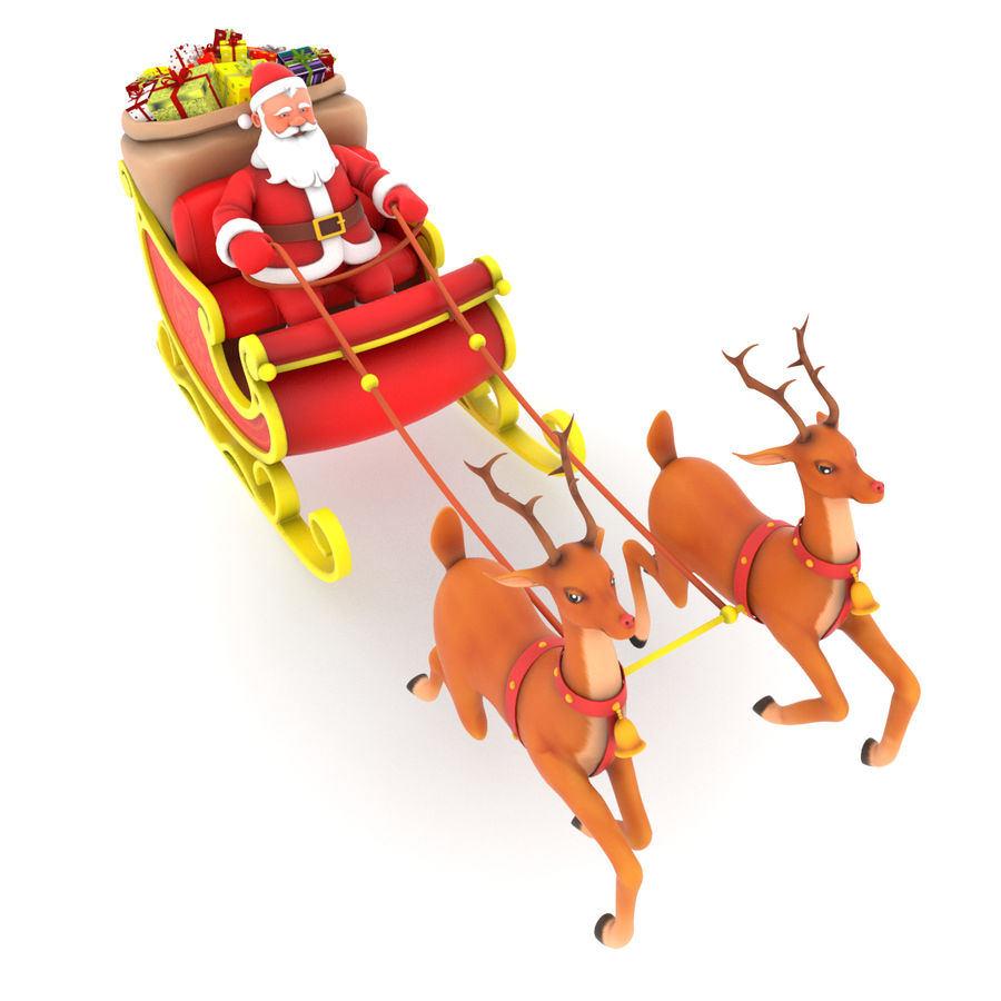 Santa con trineo royalty-free modelo 3d - Preview no. 4
