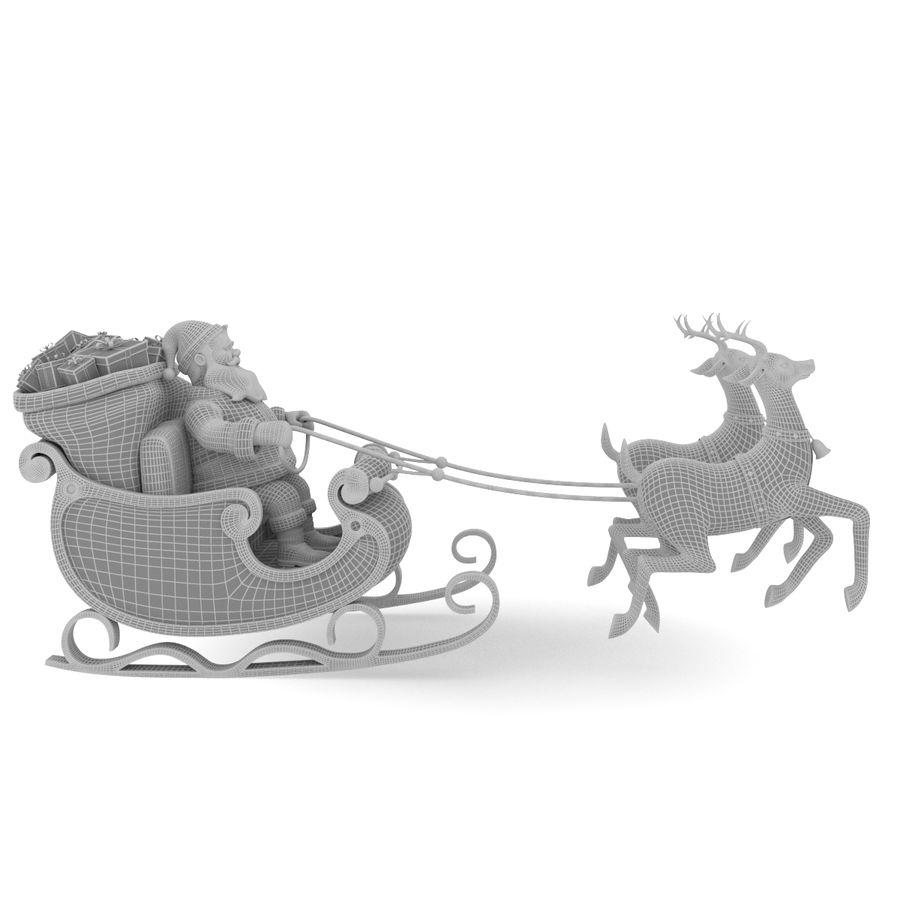 Santa with sleigh royalty-free 3d model - Preview no. 6