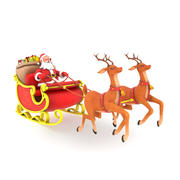 Santa with sleigh 3d model