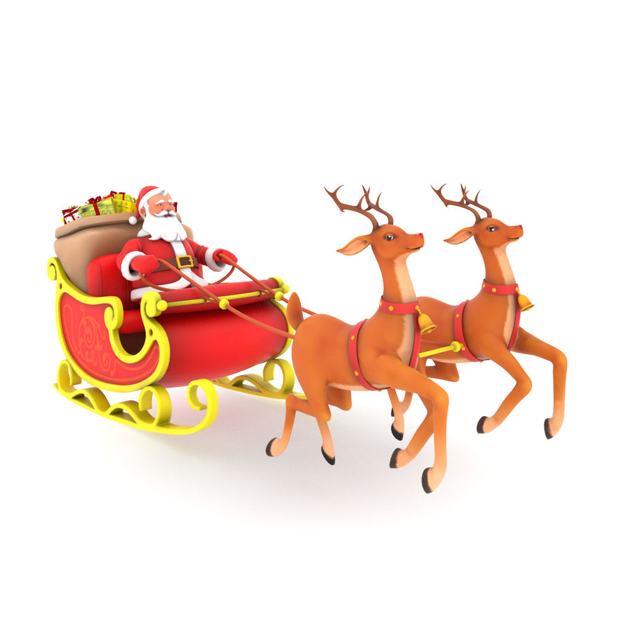 Santa with sleigh royalty-free 3d model - Preview no. 1