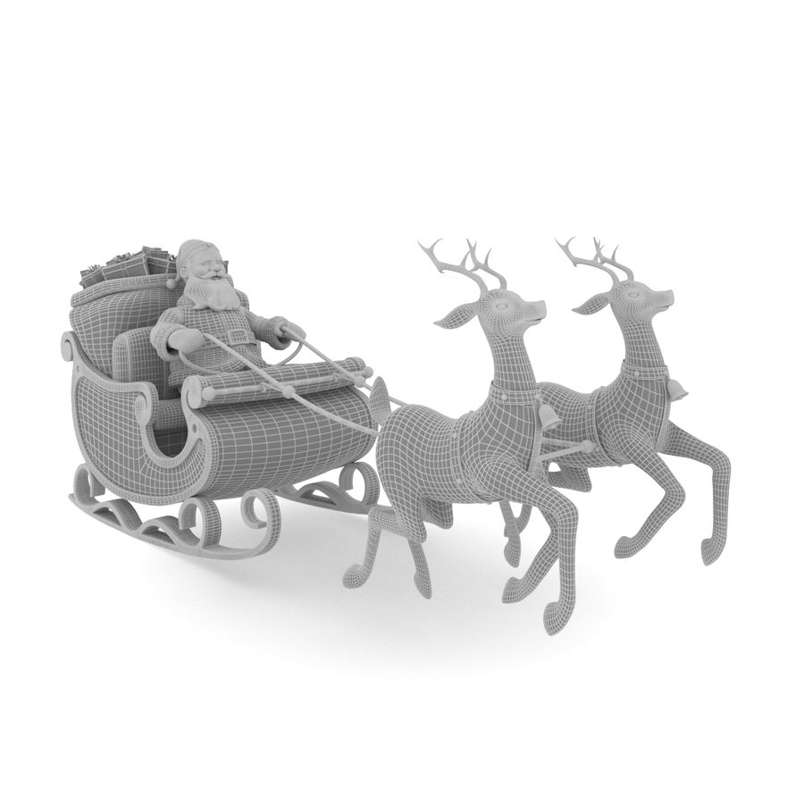Santa con trineo royalty-free modelo 3d - Preview no. 5