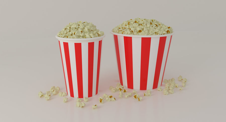 Popcorns In Tubs royalty-free 3d model - Preview no. 2