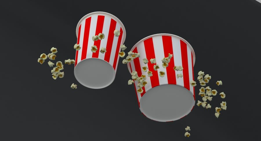 Popcorns In Tubs royalty-free 3d model - Preview no. 7