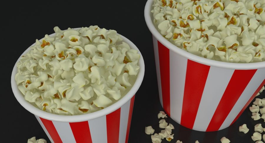 Popcorns In Tubs royalty-free 3d model - Preview no. 5