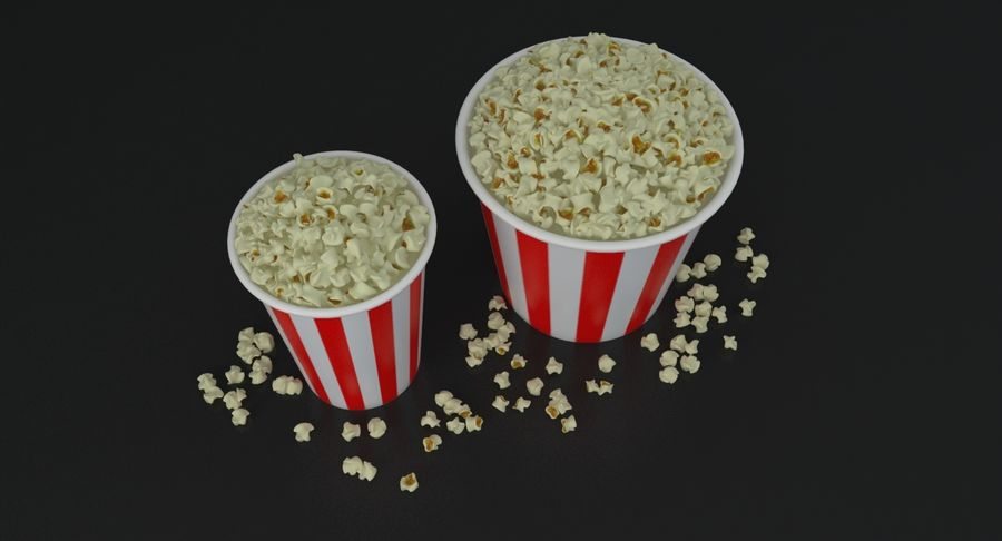 Popcorns In Tubs royalty-free 3d model - Preview no. 4
