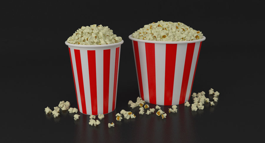 Popcorns In Tubs royalty-free 3d model - Preview no. 3