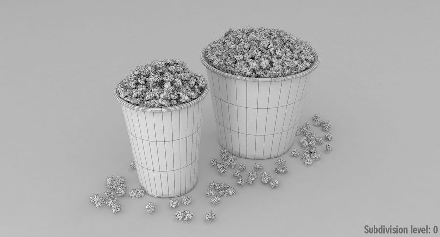 Popcorns In Tubs royalty-free 3d model - Preview no. 12