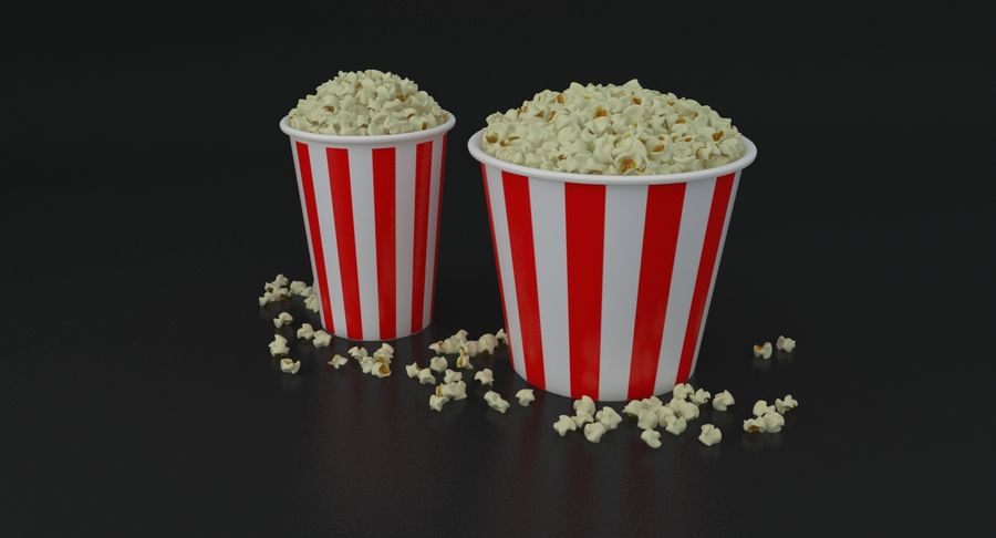 Popcorns In Tubs royalty-free 3d model - Preview no. 15